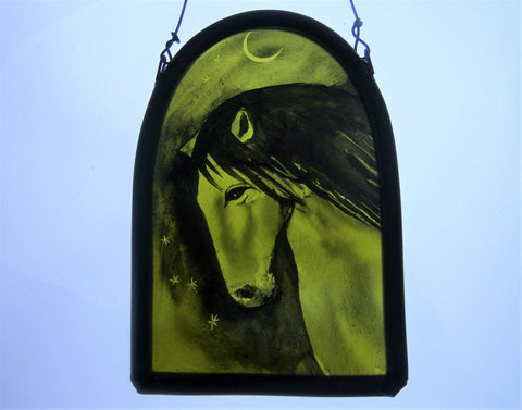 Horse -  Stained Glass Hanging Panel by Debra Eden