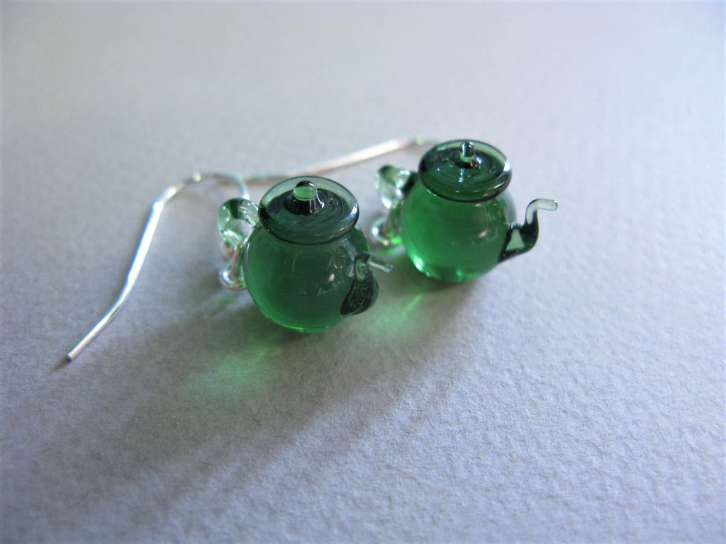 Tiny Teapot Earrings - Green By Glenn Godden