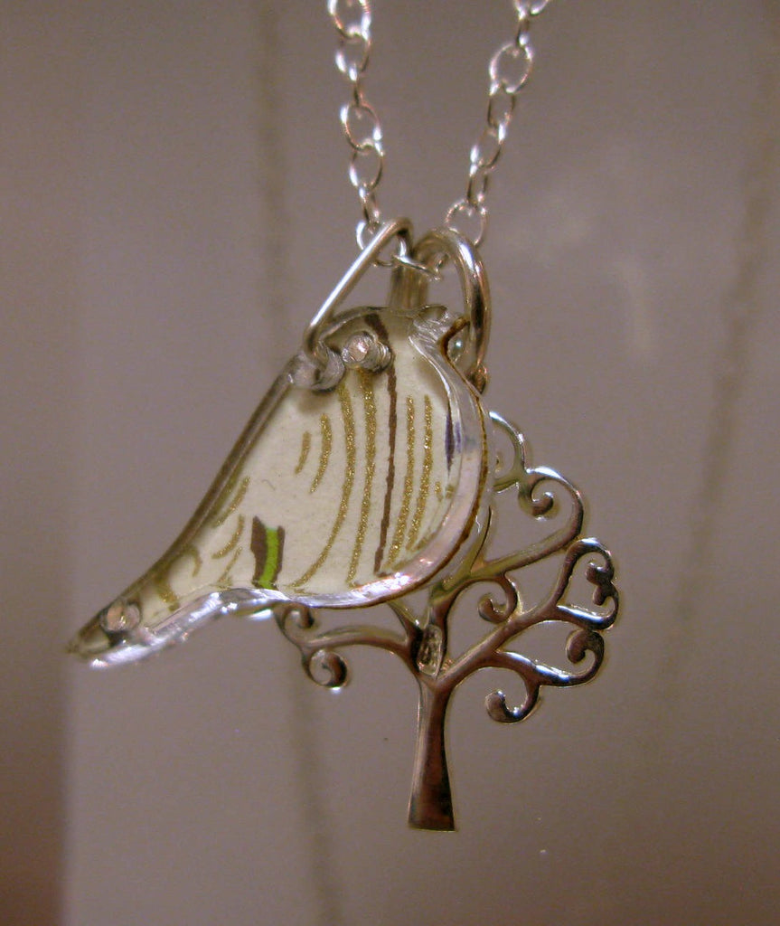 Bird and Tree Design Reversible Necklace