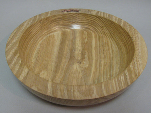 Oak Tree Wood Dish with Inset Copper Hare