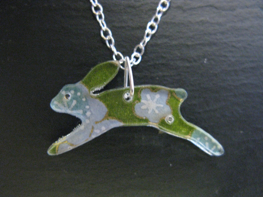 Running Hare Design Reversible Necklace