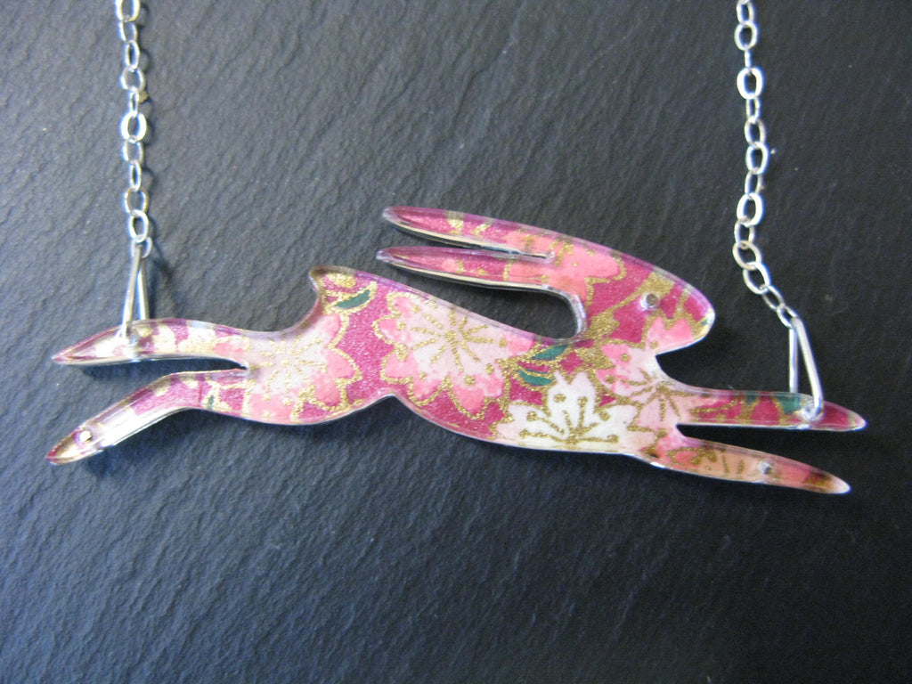 Large Running Hare Design Reversible Necklace