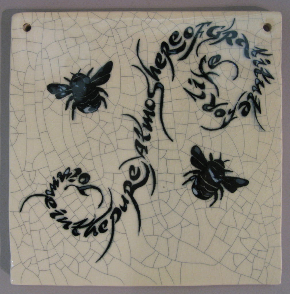 "Medium Bee Square Tile - ""Join me in the pure atmosphere of gratitude for life"" - Mel Chambers"