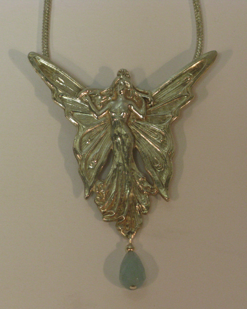 Silver Plated Fairy Necklace with Turquoise Stone, Jess Lelong
