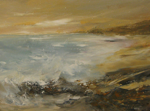 Sennen Cove, toward the Cape - acrylic on board by Susan Gray