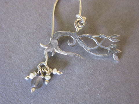 Autumn Tree Earrings with Labradorite and Freshwater Pearls