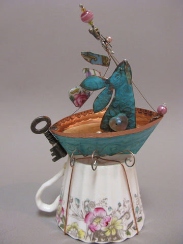 Grande Hare on a Dreamboat Assemblage by Linda Lovatt