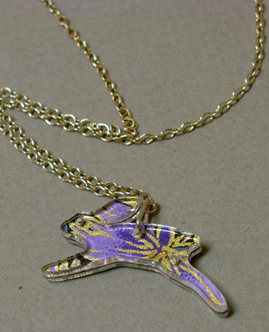Small Hare Design Reversible Necklace in Purple and Blue