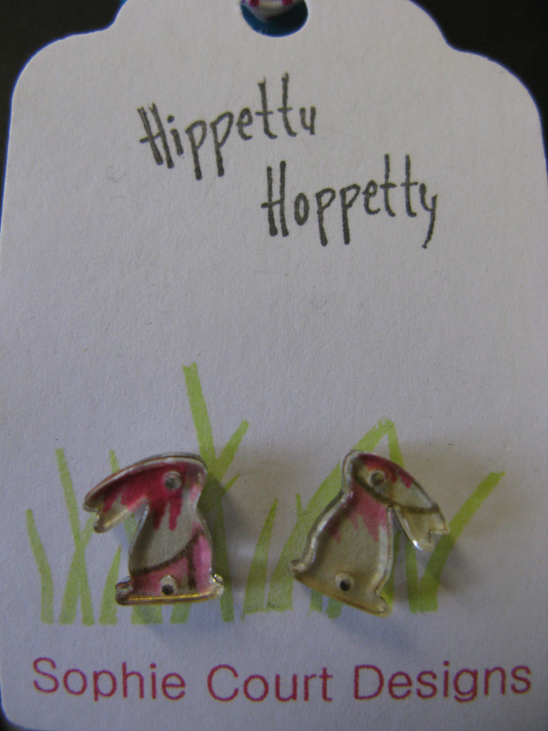 Rabbit Design Earrings in Pink and Cream