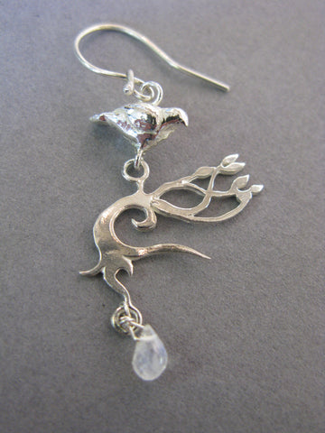 Autumn Tree Earrings with Doves and Moonstone