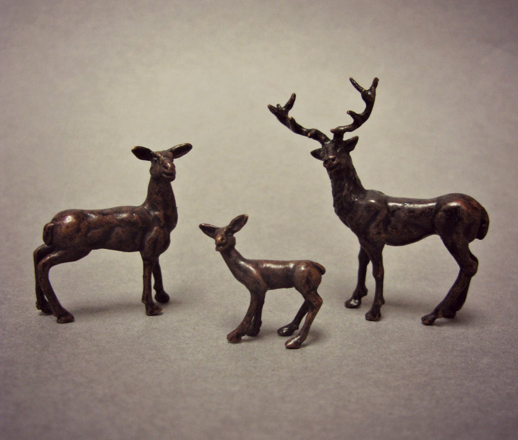 David Meredith Miniature Bronze Stag Family
