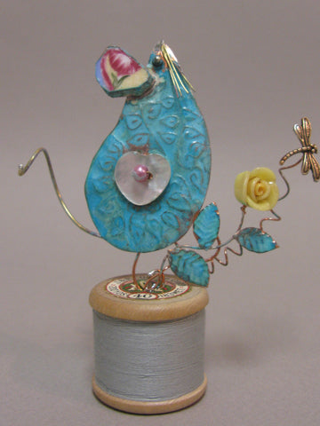 Small Mouse Assemblage on a Cotton Reel by Linda Lovatt