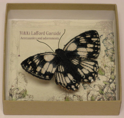 Marbled White Butterfly Brooch