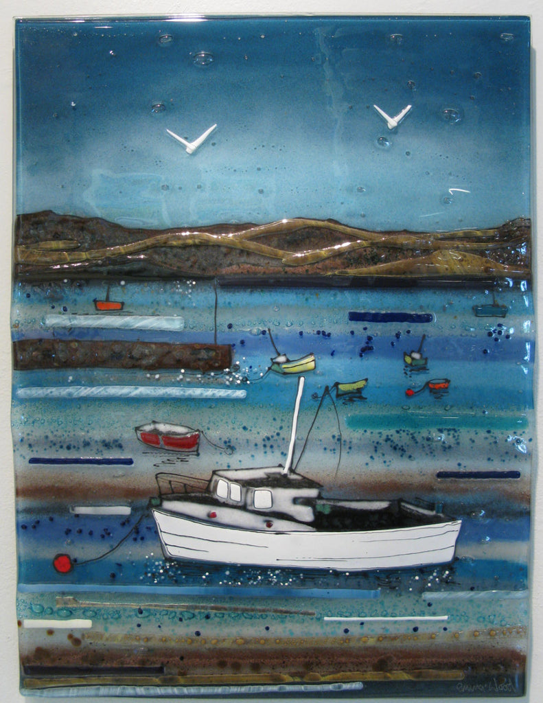 Winter Morning Harbour - Fused Glass Panel by Emma Wood