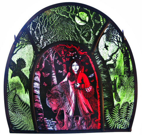 Red Riding Hood stained glass panel by Tamsin Abbott