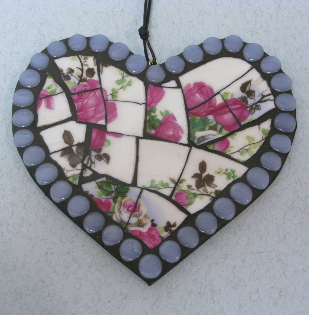 Small Blue and Pink Mosaic Heart by Helen Clues