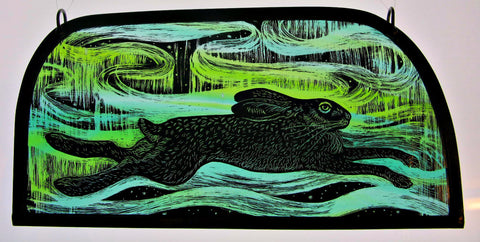 Northern Lights Hare stained glass panel by Tamsin Abbott