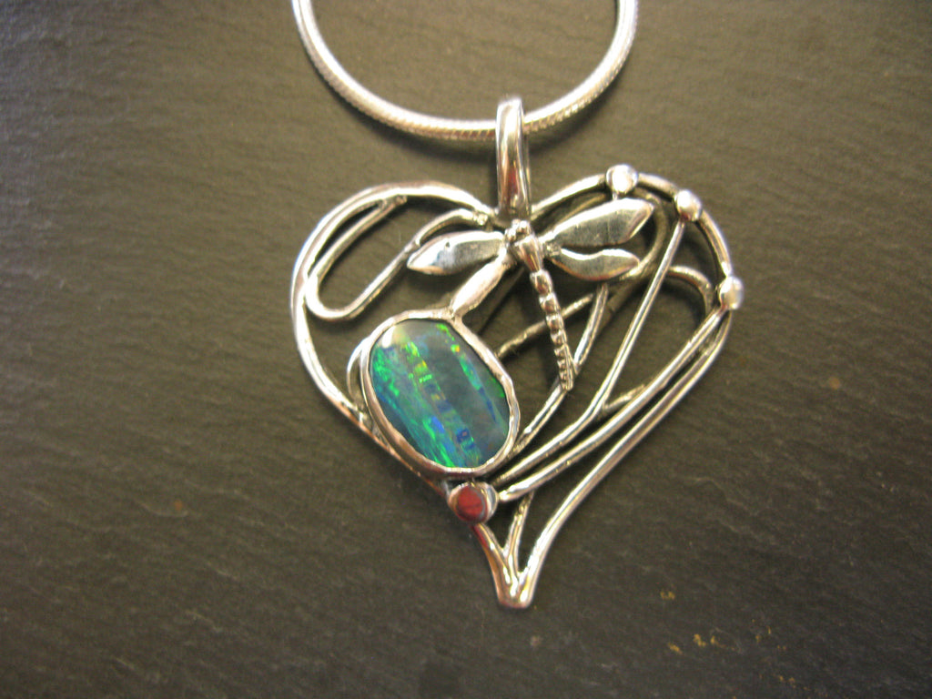 Large Heart Dragonfly Pendant in Sterling Silver with Blue Opal by Madeleine Blaine