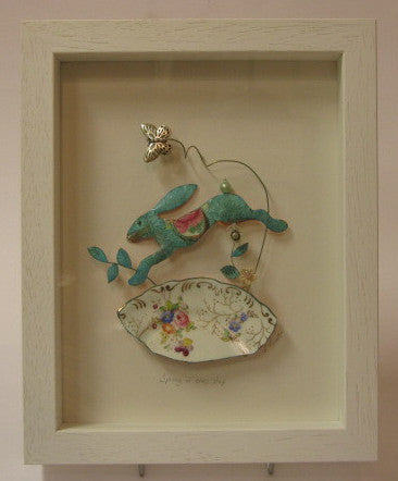 """Spring in my Step"" - Leaping Hare Framed Assemblage"