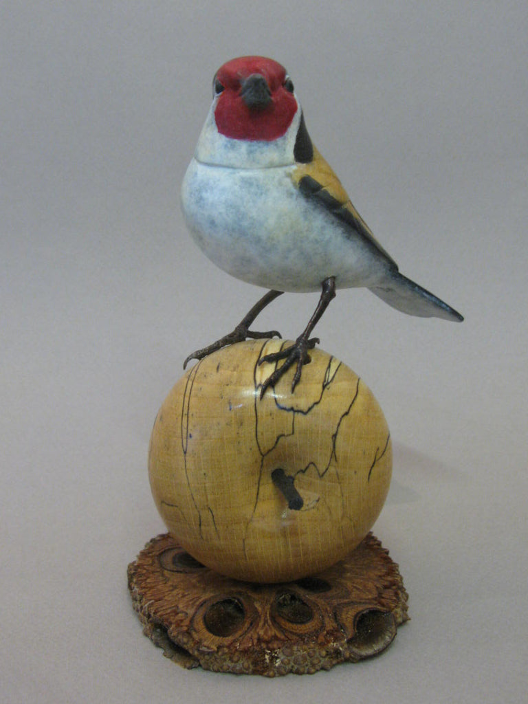 Goldfinch on Apple Bronze by David Meredith