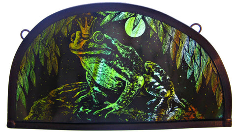 Frog Prince stained glass panel by Tamsin Abbott
