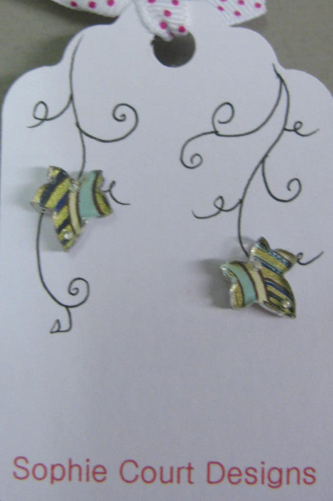 Ivy Leaf Design Stud Earrings - Blue, Gold and Brown