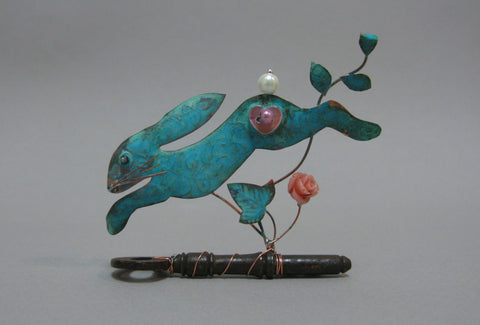 Small Leaping Hare on a Key Assemblage by Linda Lovatt