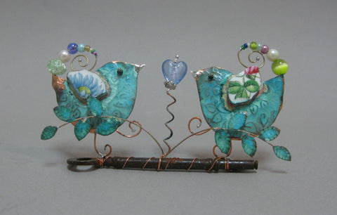 Medium Lovebirds on a Key Assemblage by Linda Lovatt