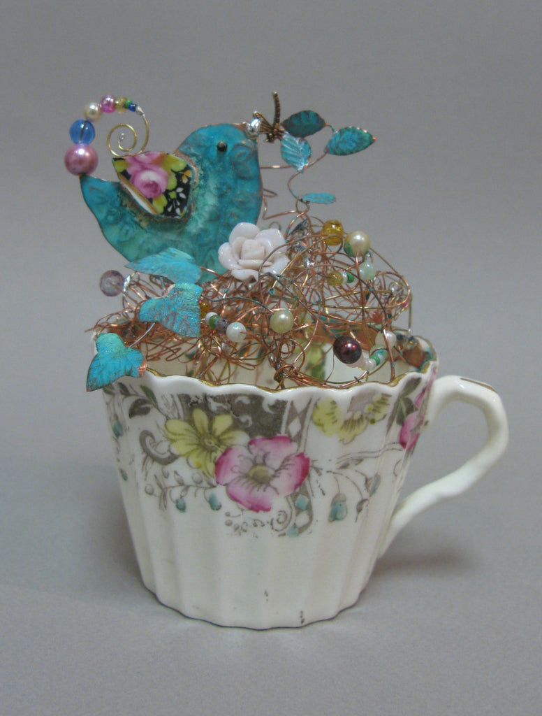 Large Nesting Bird on a Cup Assemblage by Linda Lovatt