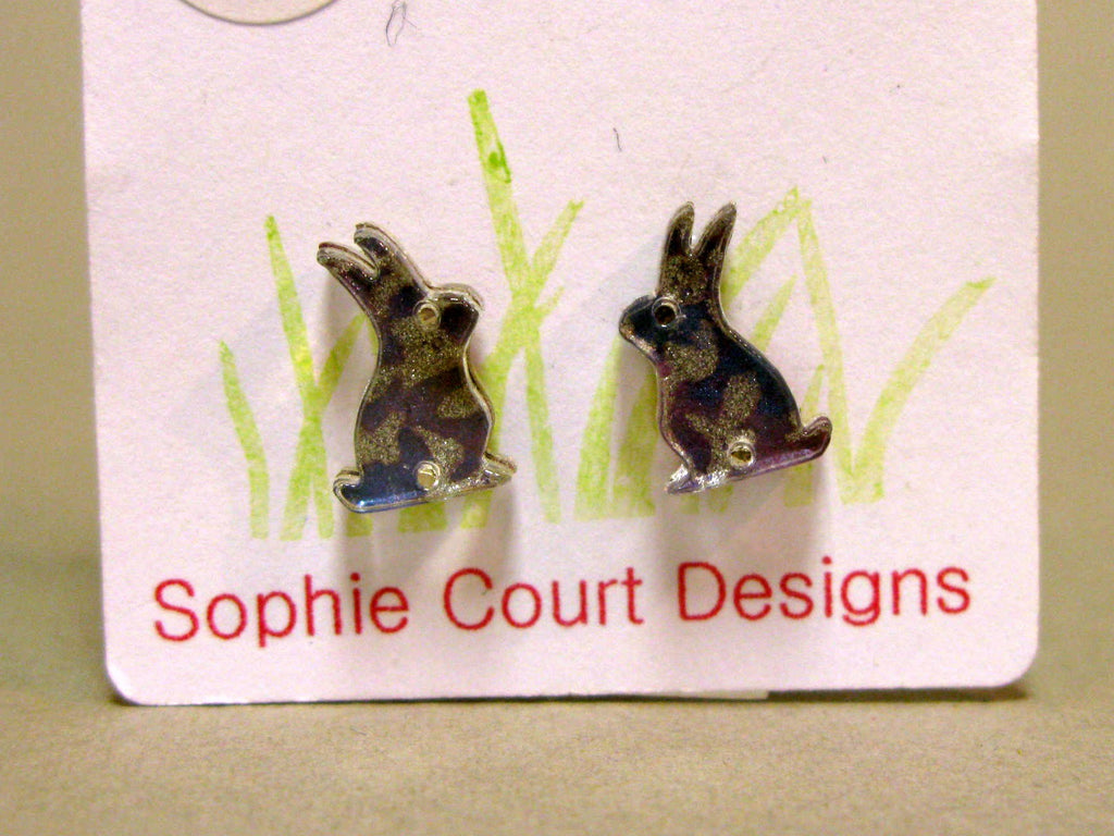 Sitting Hare Design Earrings - Blue and Silver