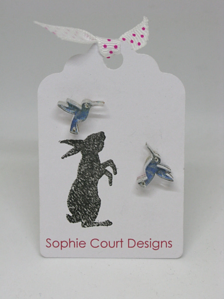 Hummingbird Design Earrings - Light Blue & Silver