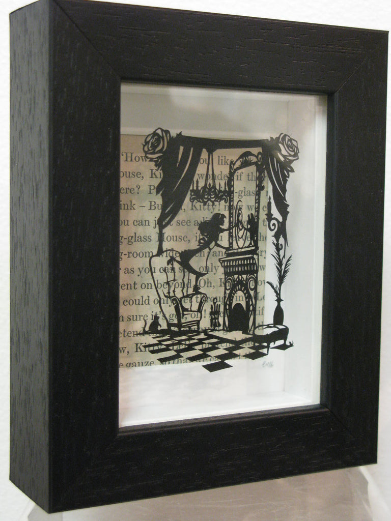 Through the Looking Glass - Hand-Cut Miniature Paper Cut by Loz Morgan (from a design by Paper Panda)