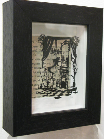Through the Looking Glass - Hand-Cut Miniature Paper Cut by Loz Morgan (from a design by Paper Panda).   NOW £195.