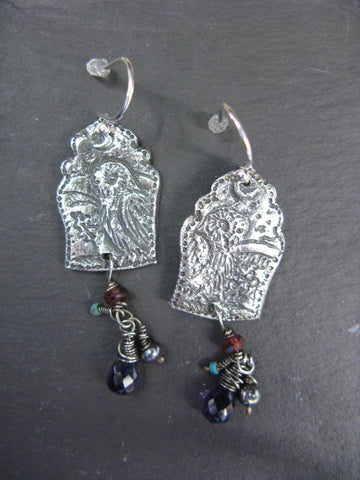 Owl Earrings with Amethyst, Garnet, Black Pearl and Turquoise
