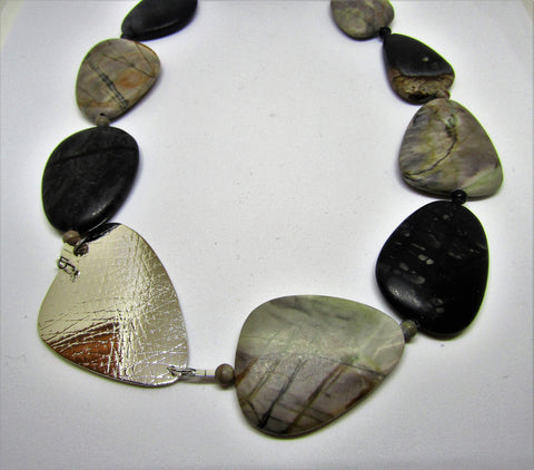 Triangle Necklace with Picasso Jasper