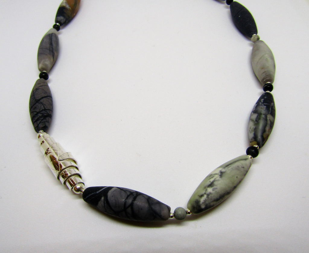 Olivine Necklace,  with Silver and Picasso Jasper