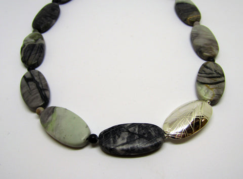 Oval Necklace, Silver with Picasso Jasper - Limited Edition