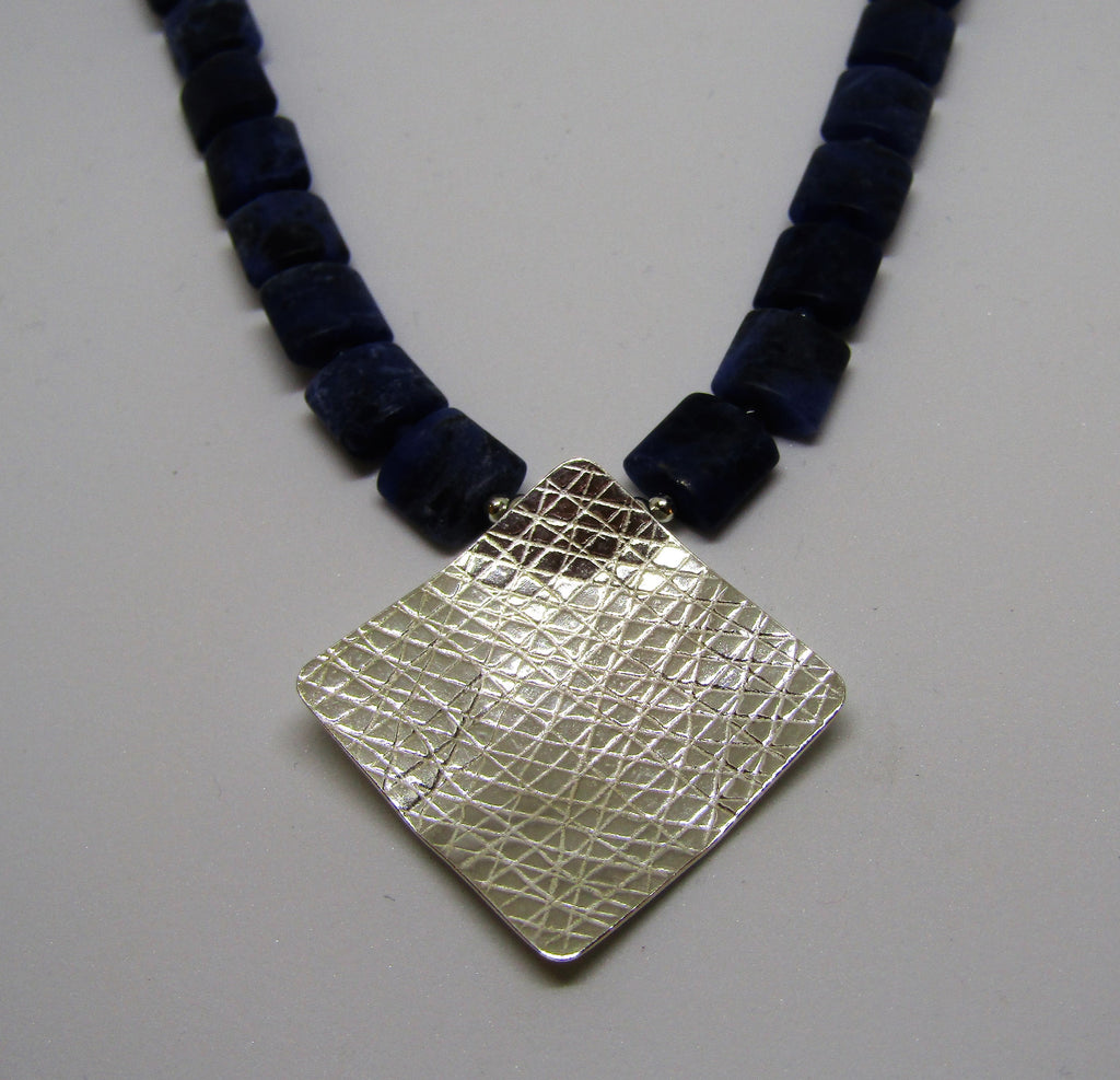 Square Necklace in Silver & Sodalite by Angela Learoyd