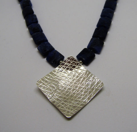Square Necklace - Silver & Sodalite