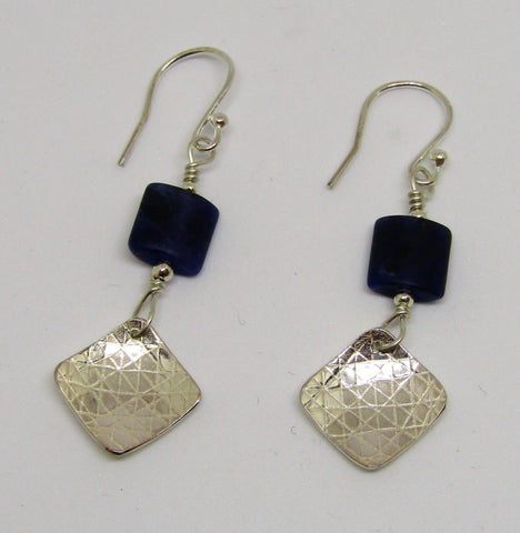 Square Sterling Silver Double Earrings with Sodalite