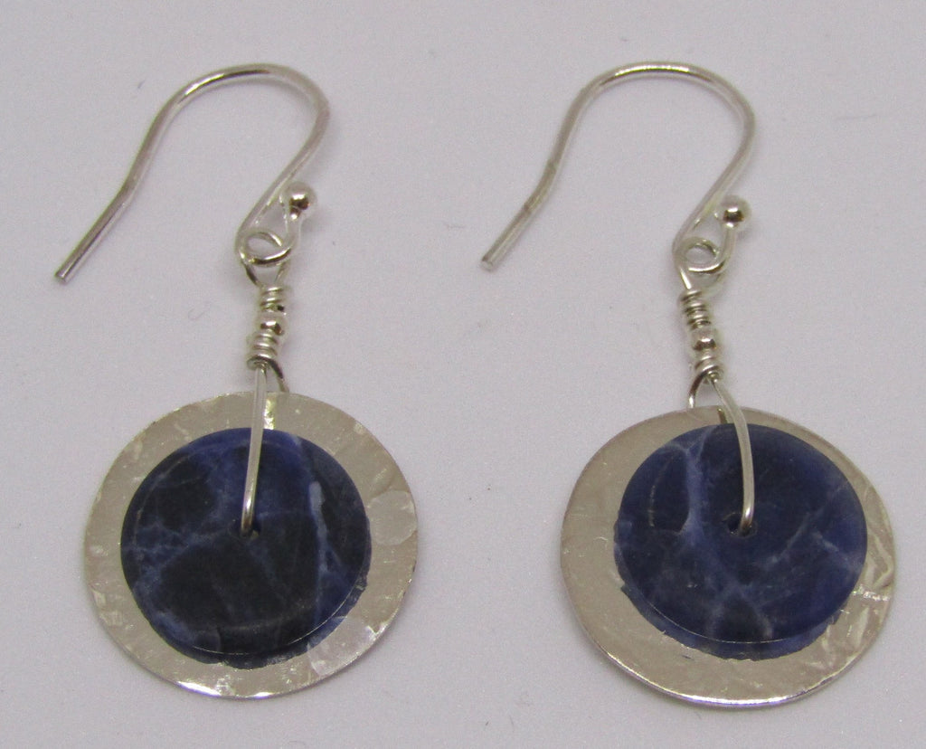 """Slices"" Hammered Disc Sterling Silver Earrings with Soladite by Angela Learoyd"