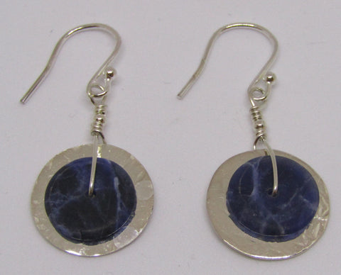 """Slices"" Hammered Disc Sterling Silver Earrings with Sodalite"