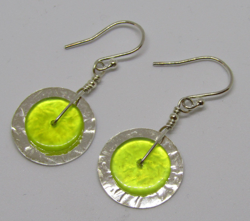 Hammered Sterling Silver Disc Earrings with Serpentine by Angela Learoyd