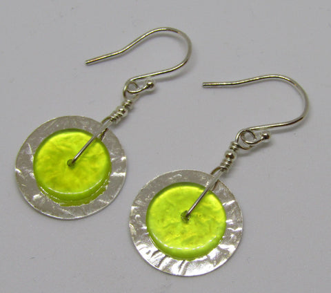 """Slices"" Hammered Sterling Silver Disc Earrings with Serpentine"
