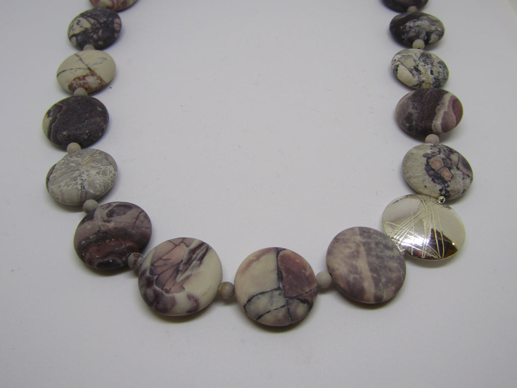 """Coin"" Necklace with Porcelain Jasper and Silver by Angela Learoyd"