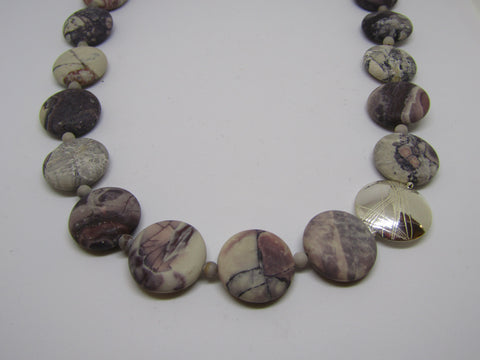 """Coin"" Necklace with Porcelain Jasper and Silver"