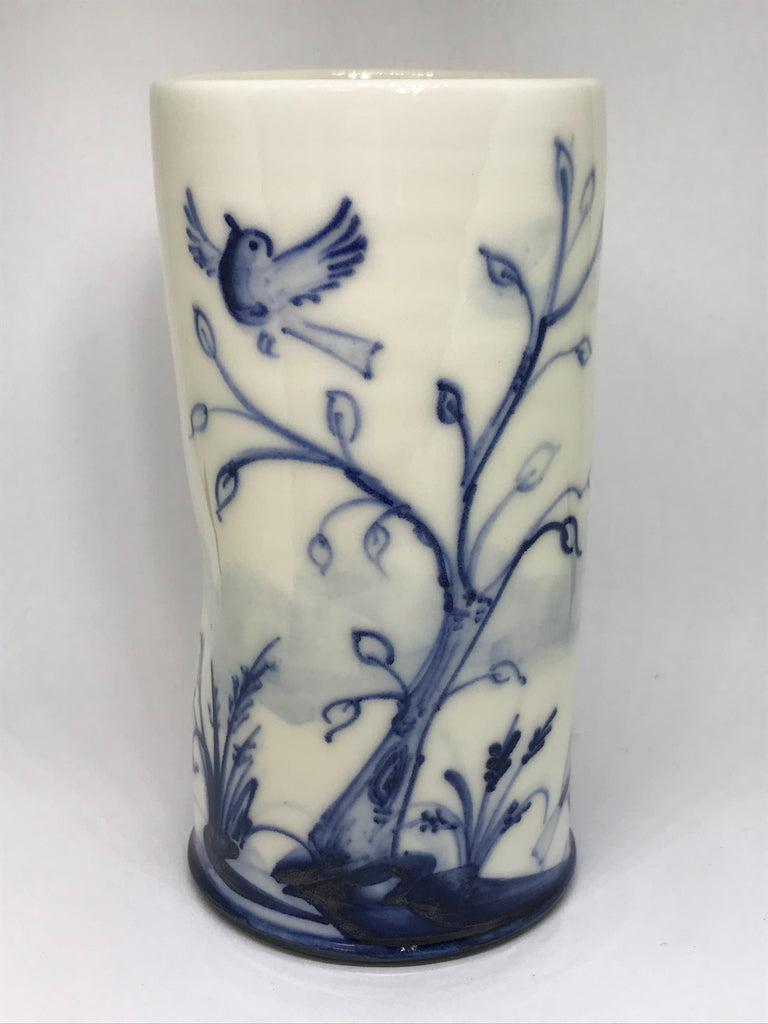 Robin and Tree Design Posy Pot, Hand Painted Porcelain by Mia Sarosi