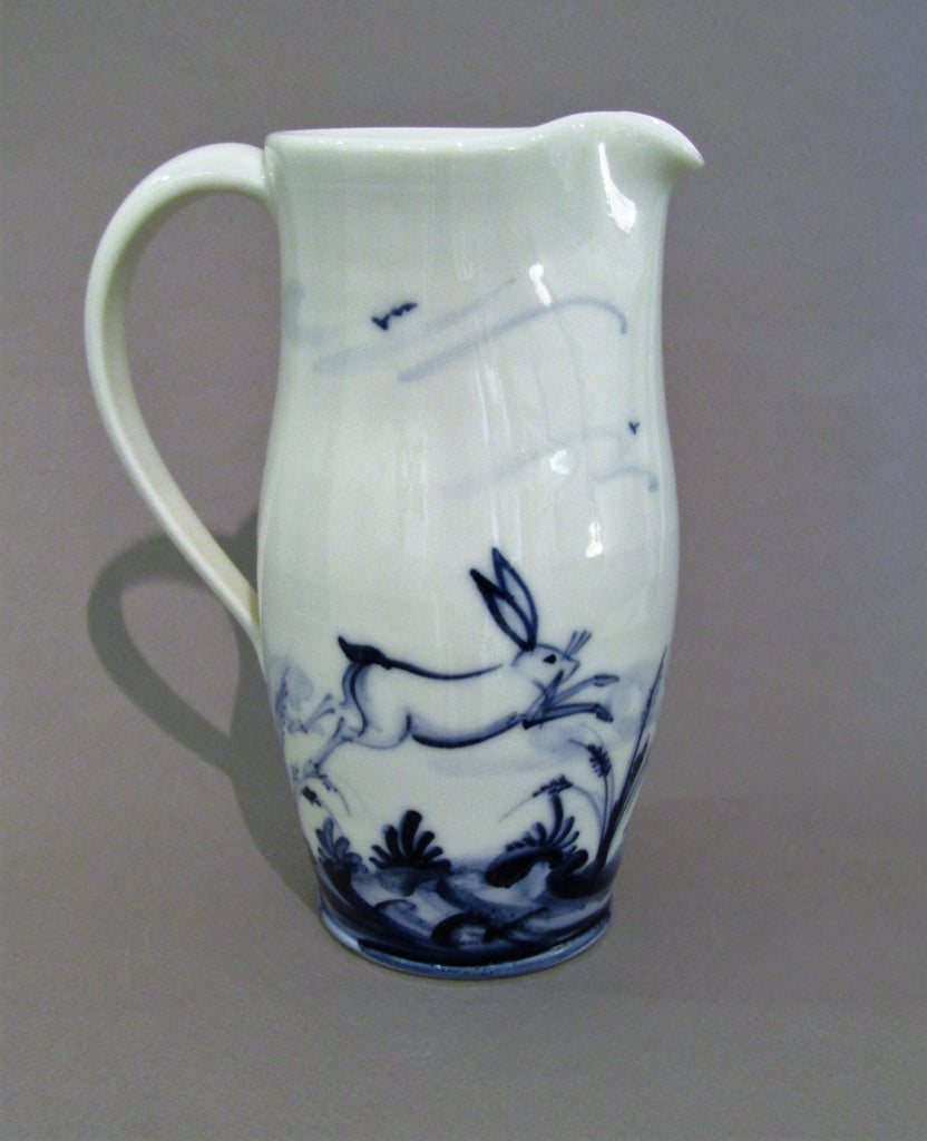 Hares Design Medium Jug, Hand-thrown, Hand-Painted Porcelain by Mia Sarosi