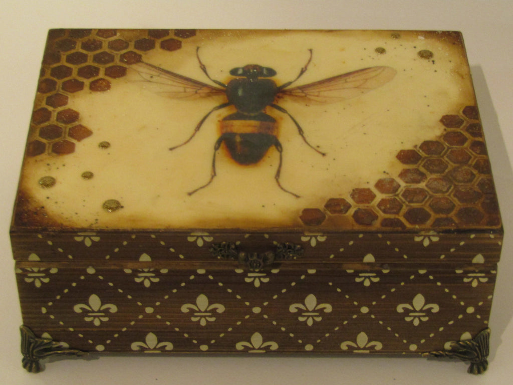 Bee Decorated Wooden Box by Monika Maksym