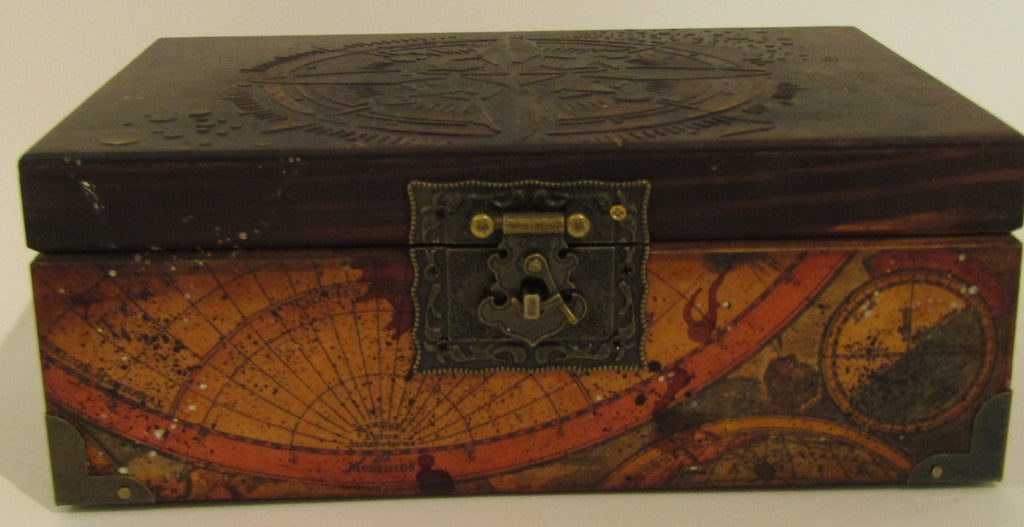 Antique world map design decorated wooden box astronomer design wooden box by monika maksym gumiabroncs